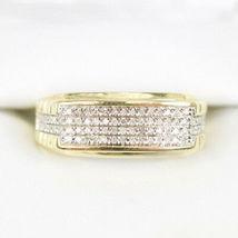 Mens Diamond Wedding Band Engagement Pinky Ring 14K Yellow Gold Fn Round... - $73.49