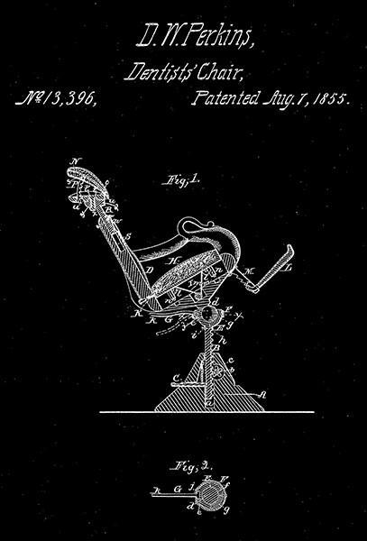 Primary image for 1855 - Dentists' Chair - D. W. Perkins - Patent Art Poster