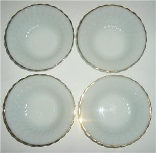 Vintage Anchor Hocking Fire King Milk Glass Bowls With a Swirl Design