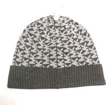 New Michael Kors MK Monogram Knit Beanie Cap Women Gray Silver Hat MSRP $42  - $31.76