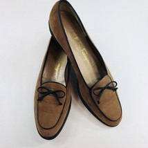 Salvatore Ferragamo Tie Loafers Brown Suede Shoes Women's Size 8 2A - $46.57