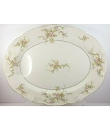 "Theo Haviland NY Rosalinde Meat Platter w Well 14"" Ivory Porcelain Pink ... - $31.68"