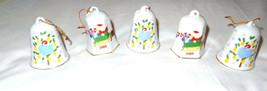 Lot of 5 Lillian Vernon Christmas Bells 1988 Vintage Set Ornament Dove S... - $12.99