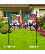 HAPPY NEW YEAR Garden Flag, Outdoor Party Decor Double Sided Yard Flag, ... - $58.89