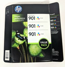 3 Pack Genuine HP 901 Tri Color Ink Cartridge CC656AN Sealed EXP 2017 Officejet - $44.94