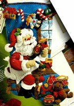 Bucilla Santa In the Workshop Toys Gifts Christmas Eve Felt Stocking Kit 86165 - $38.95