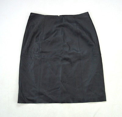 Primary image for Vtg BAGATELLE Luxe Black Leather Knee Length Pencil Skirt 6P Waist 28""