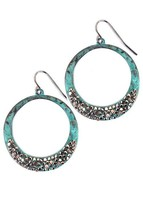 Druzy Earrings, Hammered Hoop Earrings, Teal Stone Hoops, Stone Hoop Earrings