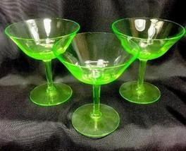 Tiffin Vaseline Glass Champagne Or Sherbet Glasses Ribbed Optic Bowl Lot... - $24.74