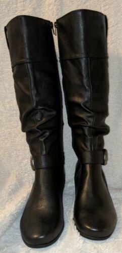 YUU Simona Black Synthetic Wedge Heel Boots Size 6 1/2M