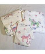 4 pcs Full Sized Sheet Set The Company Store Horses Girls 100% Cotton - $29.02