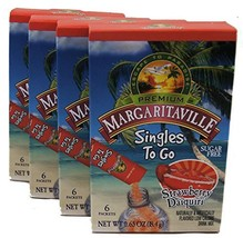 Margaritaville Strawberry Daiquiri Singles to Go 6 Packets X 4 Boxes =24 Packets