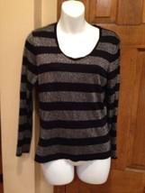 EUC Womens Petite Talbots Black Gray Striped Metallic Long Sleeve Shirt ... - $17.20
