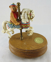 Music Box Willitts Designs TEDDY BEAR on Carousel Holiday My Favorite Th... - $40.00
