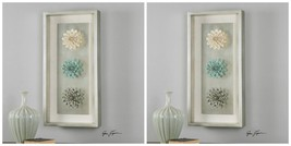 "TWO NEW 35"" DECORATIVE CERAMIC FLOWERS SHADOWBOX  WALL ART PANEL CONTEMP... - $721.60"
