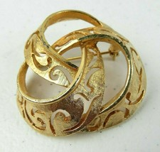 Vintage BSK Beautiful Statement Gold Tone Round Knot Brooch Pin  - $20.00