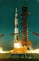 NASA Apollo 11 Space Vehicle Rocket Kennedy Space Center Chrome Postcard  - $5.89