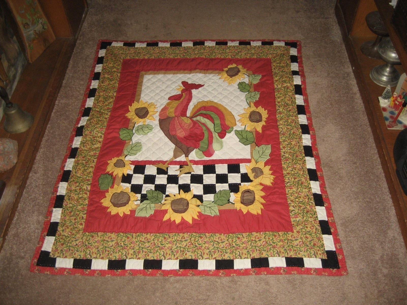 "Super Nice Hand made Holiday Quilt. Turkey Center. Fall Leaves. 57"" x 47"" Awesom"