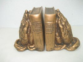 Vintage Pair of Copper Bronze Colored Resin Book Ends Bible Praying Hands - $18.76