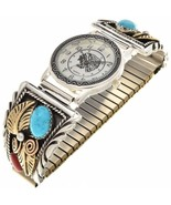 Navajo 14K Gold Sterling Silver Turquoise Coral WATCH Mens Band Bracelet... - $779.00