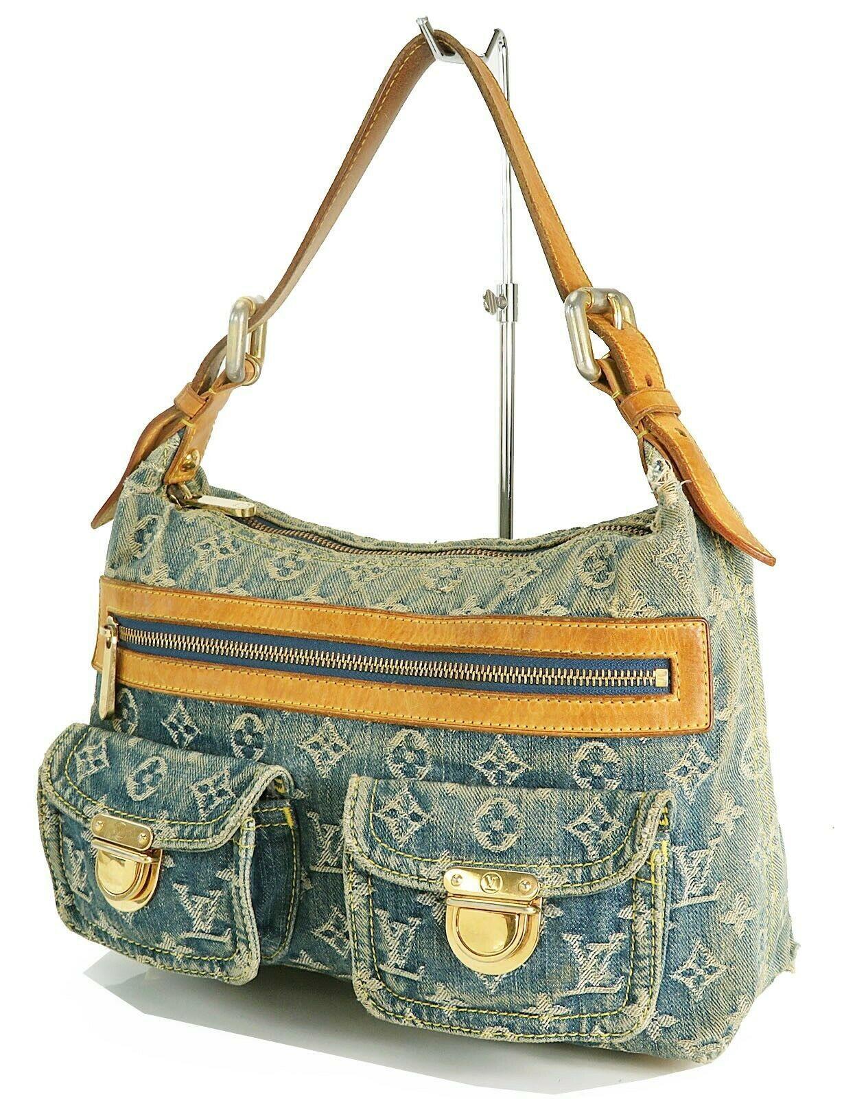Authentic LOUIS VUITTON Baggy PM Blue Denim Shoulder Tote Bag Purse #34953