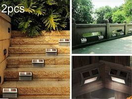 2Pcs Solar LED Step Door Fence Wall Outdoor Garden Lighting Lamp Lights image 3