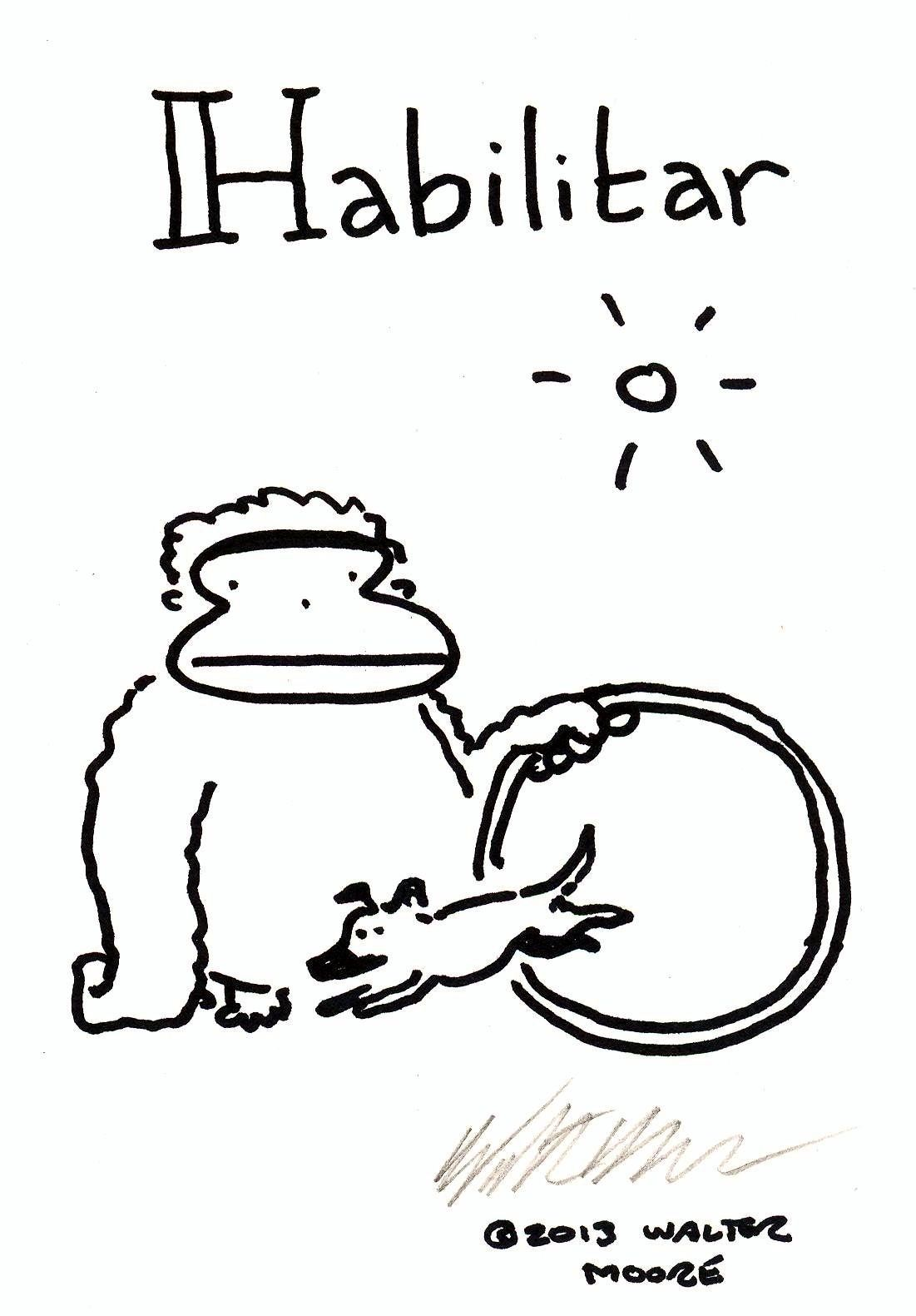 Spanish Apes: Habilitar. Original Signed Cartoon by Walter Moore
