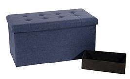 Seville Classics Foldable Storage Bench Ottoman, Midnight Blue