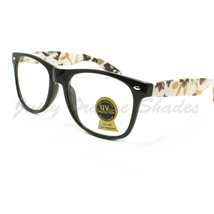 Pretty Floral Design Clear Lens 80's Retro Fashion Eyeglasses Black - $7.87