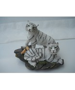White Tigers on Layered Rocks Figurine Statue Table Decor Vintage Collec... - $19.99