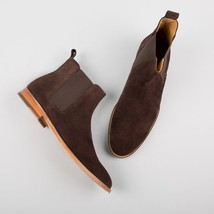Handmade Men's Chocolate Brown Suede Chelsea High Ankle Boots image 3