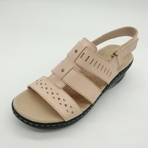 Clarks Womens Lexi Qwin Leather Cut Out Slingback Sandals Blush Size 9M New - $49.49