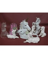 9 Pieces Glass Bell and Ceramic Unicorns with Stained Glass Tea Light Sh... - $68.90