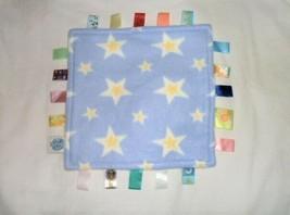"Taggies Baby Blanket Blue White Yellow Stars Fleece 12"" X 12"" Taggie Tags - $24.74"