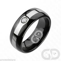 Tungsten Carbide .07CT Wedding Engagement Band Black With Center Stripe ... - $24.97