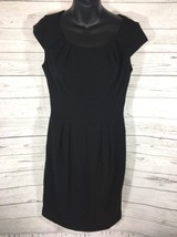Calvin Klein Black Dress Size 4 Chic Pleat Bust Empire Waist Cap Sleeve ... - $17.81