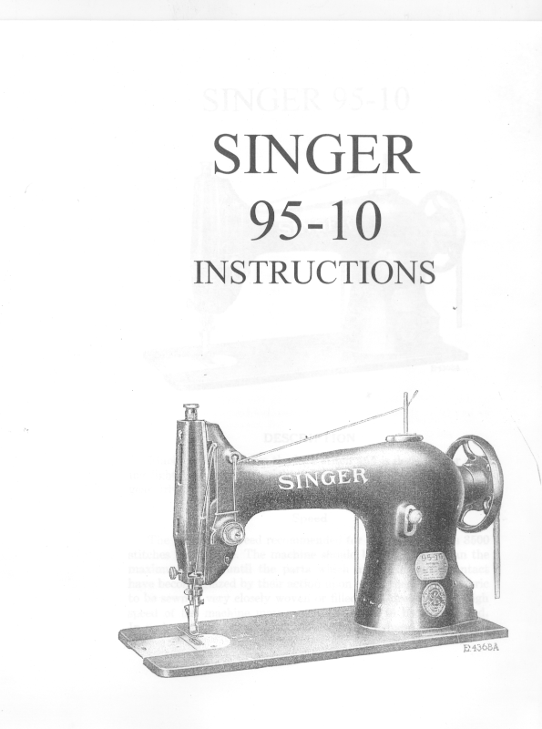 Singer 95-10 Sewing Machine Manual L Vintage  - $19.99 CAD