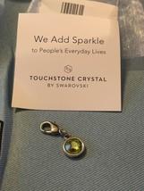 Swarovski Touchstone Crystal Charm - Green/Silver - Peridot Color - NEW! - $3.71