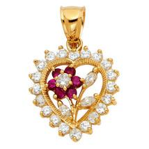 14k Yellow Gold Cubic Zirconia Floral Heart Pendant - $326.00