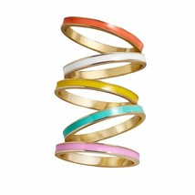 Women Multicolor Enamel Stacking Midi Ring Party Jewelry Clubs Alloy Fas... - $8.05