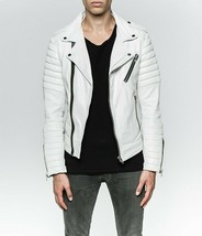 Men's Genuine Lambskin Quilted Biker Jacket Moto Slim fit Leather Jacket... - $69.29+