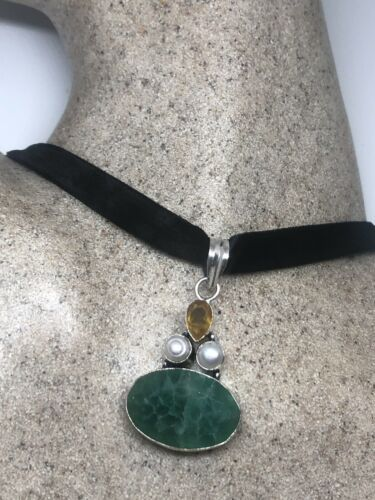 Vintage Raw Emerald Silver Necklace Pearl Citrine Choker