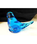 VTG BLUE BIRD OF HAPPINESS FIGURINE ART GLASS SIGNED ETCHED RON RAY 1987 - $23.76