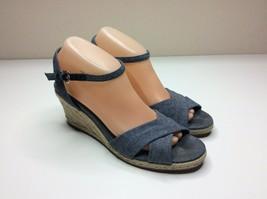 Cole Haan Air Camila Women's Size 9.5 AA Denim Blue Wedge Heels Shoes Narrow - $20.78