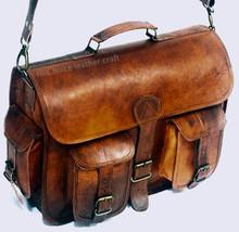 Genuine Real Leather Satchel Messenger Shoulder Bag Handbag Brown - $54.65