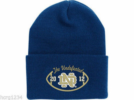 NOTRE DAME 2012 - ADIDAS  NCAA CUFFED KNIT BEANIE - UNDEFEATED NAVY BLUE - $15.19