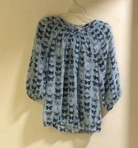 Banana Republic Blue Butterfly Top Sheer Gathered Waist Size S Petite  - $17.99