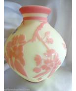 Fenton Art Glass LTE Sand Carved Sunset Pink Burmese Kelsey Murphy Vase ... - €527,23 EUR