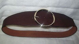 MICHAEL KORS  choco/brown LEATHER BELT Large circular logo backle LARGE NWT - $45.00