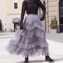 Gray Tiered Tulle Skirt Outfit High Waisted Full Plus Size Layered Tulle Skirts  image 3